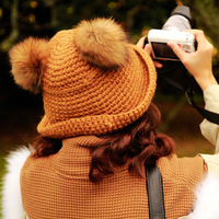 2013 autumn and winter sweet all-match women's raccoon fur ball roll-up hem knitted hat