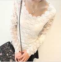 13 wave o-neck full lace flower long design basic shirt cutout crochet lace t-shirt female sexy top