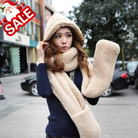 Thickening!! Autumn and winter berber fleece with a hood plush thickening lovers muffler scarf hat gloves one piece