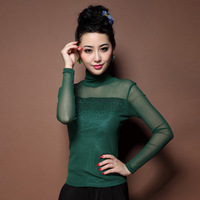 2013 autumn fashion elegant sweet gentlewomen elegant sexy diamond basic turtleneck shirt t-shirt top
