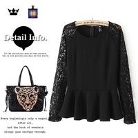 Female clothing clothes women's fashion 13 autumn lace top basic shirt