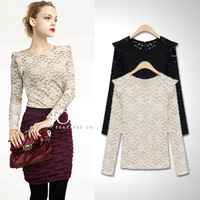2013 spring and summer slim basic cutout lace shirt fashion star long-sleeve top female sexy