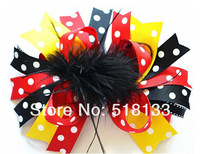 20PCS/lot 6'' Baby Girls Large Boutique Christmas Feather Bows Hair Clips Handmade Toddler Infant Kids Hair Flowers Accessories