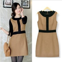 Stella free shipping 2013 women's one-piece dress woolen sleeveless tank dress plus size