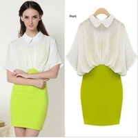 Stella free shipping 2013 work wear ol elegant fashion peter pan chiffon slim faux two piece hip slim one-piece dress