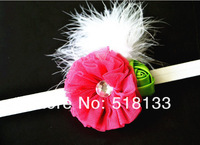 30PCS/lot Wholesale Baby Girls Stretchy Lace Headbands with Puff Flower Elastic Feather Rhinestone Hair Bands Christmas Headband