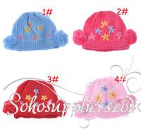 Girl Knitted Flower Hat Beanie Kids Infant Winter Hats With Fleece inside Children Headgear Girl Hat 1pcs free shipping MZD-049