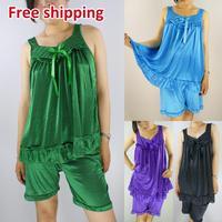 Free Shipping 2014 nighty nightgown pajamas women's summer sleeve silk nightgown plus size large sexy silk sleepwear lounge