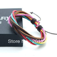 Free shipping,Fashion Men's Casual Leather+Wax cord woven bracelet,Young men,Punk,Adjustable,KY-063,wholesale 10pcs