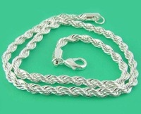 "Free Shipping N067 Men's 925 Silver Necklace Twisted Rope Chain 4mm 16'' 18'' 20'' 22'' 24"" Wholesale 925 Silver Fashion Jewelry"