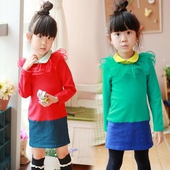 Princess children's clothing 2013 autumn lace collar petals female child dresses child one-piece dress princess dress