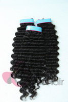 Hot Free shipping Peruvian Virgin Hair Extensions Deep Wave 3pcs/lot  Human Hair Weave Natural Color  Quality Hair Weft/Weaving