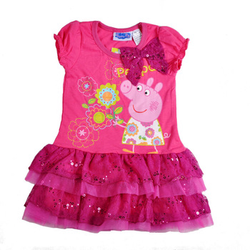 2013 new summer baby girl Peppa pig cartoon lace dress kid tutu princess dress free shipping