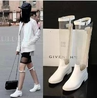 Fashion genuine leather boots martin boots transparent film high-leg boots women's shoes