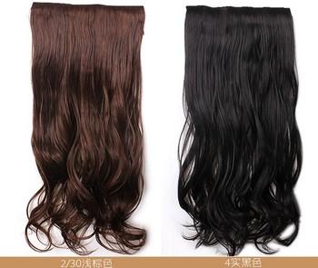 24'', 4 colors, 20pcs/lot, High Temperature synthetic fiber hair, clip in Hair Extensions, SP-067