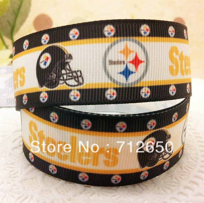 New Arrival 1'' (25mm) STEELERS printed Grosgrain ribbon Polyester sport Ribbon DIY haribow garment etc.accessories(China (Mainland))