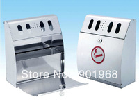 Outdoor public smoking area wall-hung 4L stainless steel ash box with locker