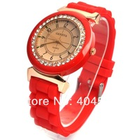 Free shipping 8colors Ladies brand GENEVA Watch Classic Gel Silicone Jelly watch