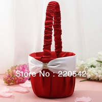 1Pcs Satin Red and White Bow Crystal Wedding Flower Girl Basket SL22