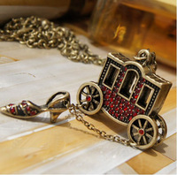 Min order $10.European and American jewelry retro fairy tale Little Red  Slipper carriage long necklace ornaments x0526