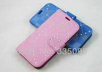 Fashion lady girl women diamond PU stand case for iphone4/4s 1pc with packaging