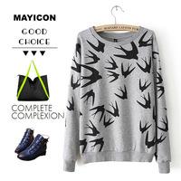 Clothing fashion 2014 loose t-shirt swallow solid color print tee o-neck casual sweatshirt c0451  animal print patterns Cartoon