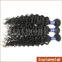 Rosa Queen Hair New Arrival AAAAA High Grade 100% Natural Malayian Curly Virgin Hair Wig 3pcs Lot Free Shipping