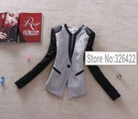 2013 Autumn And Winter Women Tops Outerwear Korean style Pu Leather vintage V Neck Patchwork Linen Jacket coat blazer