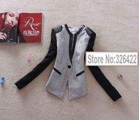 Autumn Winter Outerwear Pu Leather Vintage Office Ladies Patchwork Linen Coat Suit Jacket  And Blazer Women Branco Feminino 2014