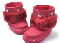 baby boot stitched flower red boots  winter boot casual shoes baby pram shoes first walker prewalker shoes retail