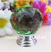 2pcs Green color Crystal Kitchen  Wardrobe Knob Cabinet Knob Drawer 30mm Free shipping