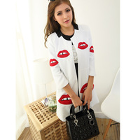 New 2013 winter New 2013 winter 333  3d three-dimensional red lips patchwork shoulder pads trench outerwear
