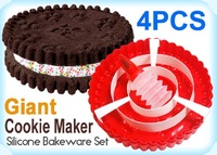 New giant cookie maker cake pan set silicone 4 x piece
