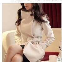 free shipping 2013 women's slim waist woolen outerwear overcoat medium-long slim wool coat