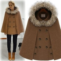 free shipping Double breasted cloak coony wool poncho outerwear wool wool coat female coat