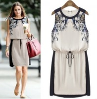 European Design Fashion One-piece Patchwork Chiffon Dress Vintage Ink Print Sleeveless Tank Dress Free Shipping