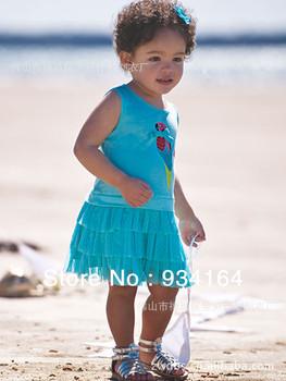 2013 New Arrival Child Girl Dress Blue Sleeveless Bird Pattern Tiered Tutu Dress One-piece Dress Girls Beach Dress Free Shipping