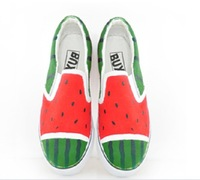 Free shipping 2013 Watermelon hand-painted shoes slip-on graffiti canvas shoes couples students personality casual shoes