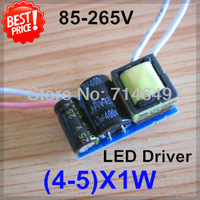 5pcs/lot, (4-5)X1W led driver, 4W 5W lamp Transformer, 85-265V inside driver, LED DIY lamp E27 GU10 4W 5W driver, freeship