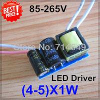 5pcs/lot, (4-5)X1W led driver, 4W 5W lamp Transformer, 85-265V inside driver, LED DIY lamp E27 GU10 4W 5W driver, freeship