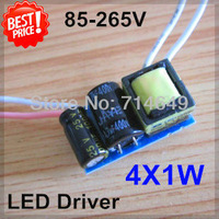 5pcs/lot, 4X1W led driver, 4W lamp Transformer, 85-265V inside driver, LED DIY lamp E27 GU10 4W driver, free shipping