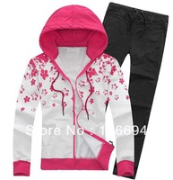 Free shippinmg 2013 New women's casual sportswear suit Cotton long-sleeved jacket Hooded casual sweater Spring and Autumn h170