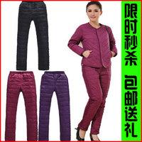 Winter paragraph down pants women's quinquagenarian thermal slim pencil down trousers