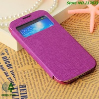 Free Shipping 10pcs/lot New Galaxy S4 S IV i9500 Leather Case View Flip Cover For Samsung Cases