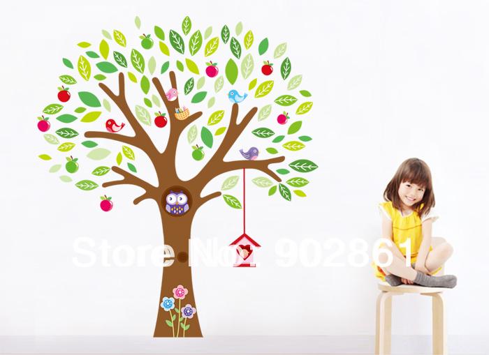 - 140x160cmPVC removível árvore verde Big Owl Bird House For Children decalque em parede adesivos de parede para decoração(China (Mainland))