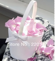 1Pcs White Satin Sweet Bow Wedding Flower Girl Basket SL14