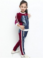 Medium-large girls clothing 2013 Jeans Set velvet sport suit coat+pants 2pcs autumn children Suit kids autumn for 6-15 years old