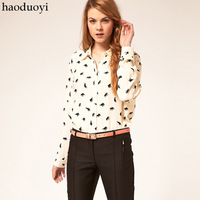 Free Shipping Sweet gentle women  print white long-sleeve shirt fashion brief vintage women's shirt