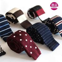 New Korean version of the British men's silk knit flat narrow tie