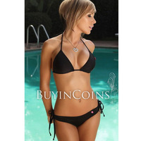 Black Color Halter Bikini Set Womens Sexy Lingerie Swimwear Swimsuit One Size 01[19241|01|01]